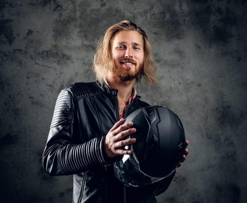 veste de moto en cuir pour homme